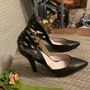 Restricted Black Leather Ankle Strap Pumps Sz 7.5